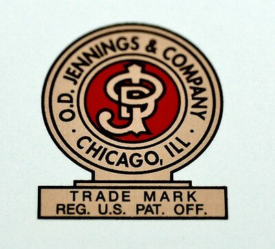 Jennings & Co. Logo, Water Slide Decal # Ds 1073. Slot Machine, Coinop