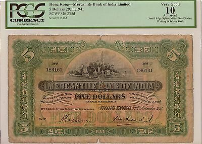 HONG KONG. Mercantile Bank of India Limited. 5 Dollars 1941. P-235d. PCGS 10 An