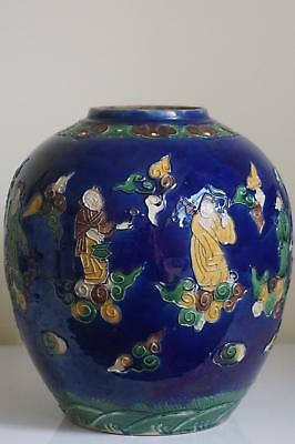 Antique Chinese Biscuit Fahua Style Immortals Jar - c. Late 19th - Early 20th C