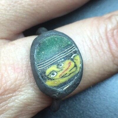 Vintage Medieval Oval Shape Phonecian Face Glass Bronze Ring Smiling Face Human