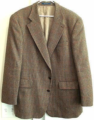 RALPH LAUREN Chaps HOUNDSTOOTH Brown Tan Teal  Beige WOOL Blazer SPORT COAT 46 R