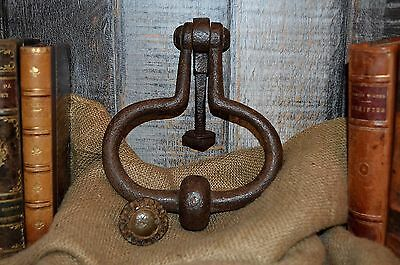 Antique Large Rustic French Cast Iron Door Knocker with Strike Plate