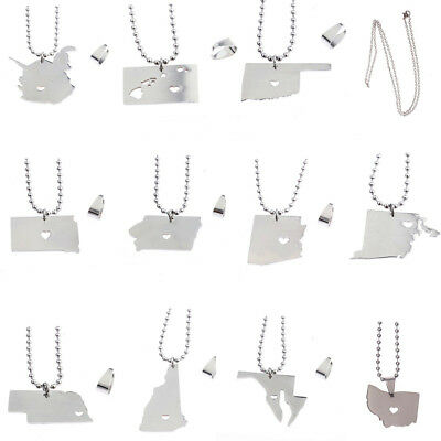 Women Fashion Silver Plated State Map Tourism Heart Charm Men Pendant Necklace