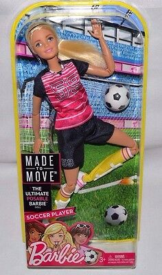 New-Nib-Made To Move Soccer Player Barbie Doll: Ball,Cleats,Shin Guards +Fashion