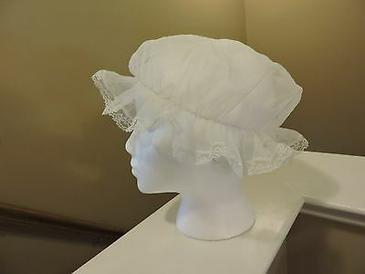 Womens Vintage 1950's Sheer W/Lace Night Cap Boudoir Sleeping Bonnet White GUC