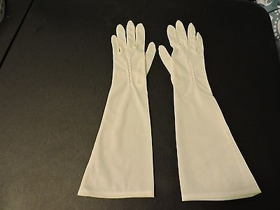 "Womens Vintage 1950's Van Raalte Nylon 15"" Evening Gloves Ivory Size 6 USA EVC"
