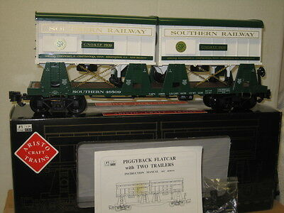 ART-46509 Aristocraft Southern Railway Piggy- Back Flat Car w 2 Trailers G Scale