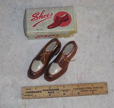 "Vintage Salesmen Sample Miniature Shoebox & 3 1/2"" Shoes"