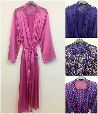 (S3) Ladies Satin And Lace Long Dressing Gown/Robe In UK Sizes 8-22