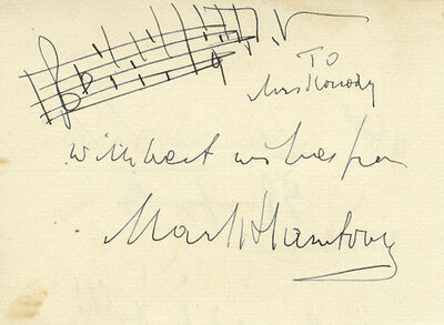 HAMBOURG, Mark: Autograph musical quotation signed in full