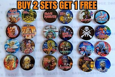 Iron Maiden Button Badge Sets 8x 25mm BUY 2 GET 1 FREE Trooper Killers Aces High