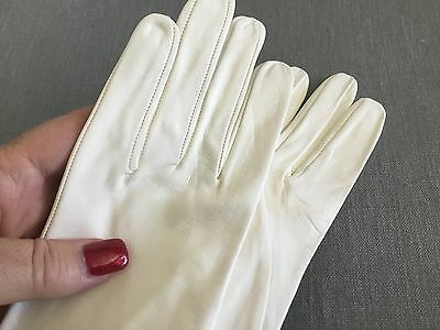 Vintage white gloves leather small elbow length special occasion wedding