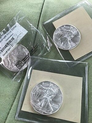 Lot Of 3 American Eagle Silver Dollars 2009 2010