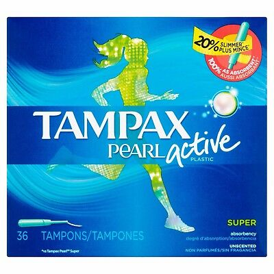 Tampax Pearl Plastic Active Super Absorbency Unscented Tampons, 36 count