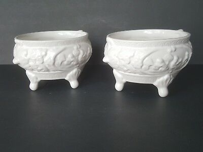 "FOOTED PLANTERS  BY ELPA ALCOBACA PORTUGAL SET OF 2 WHITE 7.5"" w x 4.5"" t  NICE!"