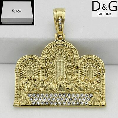 DG Men's Stainless-Steel,Gold,JESUS last dinner CZ Pendant*Unisex*Box