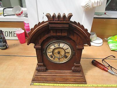ANTIQUE ANSONIA gingerbread?  CHIMING MANTLE CLOCK.
