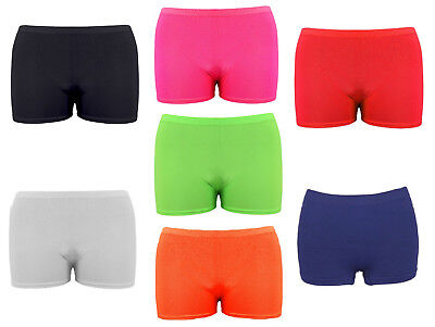 Girls Microfiber Hot Pants Shorts School Dance Gym Lycra Stretch Shorts Age 5-14