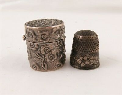 Antique Sterling Silver Floral Thimble Holder & Thimble