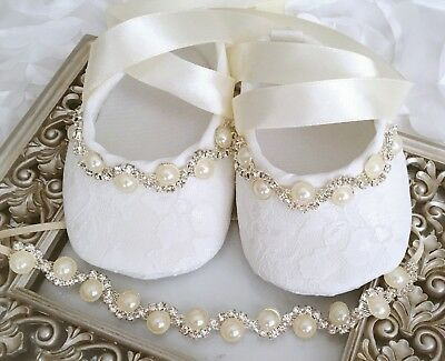Baby Girl Ivory Christening Shoes Baptism Party Pearls Rhinestones Headband Set