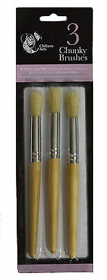 3 Piece Chunky Brushes - Paint Brush Fat Large Crafts Tipped Children Hobbies