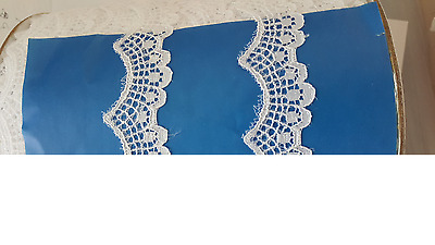 """Wholesale Roll 100 Yards White Floral Narrow Scalloped Lace Trim 1//2/"""""""