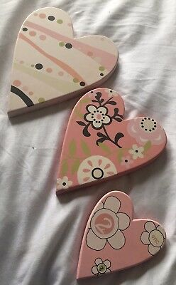 Mamas & Papas Pretty Baby Pink Wooden Heart Nursery Picture Plaques