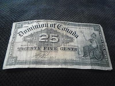 Dominion Of Canada 25 Cents Note January 2Nd 1900