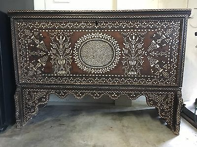 18 Century Syrian Bridal Chest With Mother Pearl