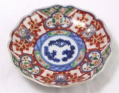 Antique Imari Colored Porcelain Shallow Bowl in Red/Blue