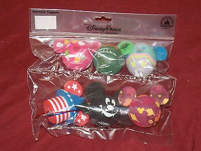 Disney Parks Mickey Mouse Holiday Set Antenna Toppers Set of 6 New in Package