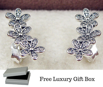 925 Silver Sterling DAZZLING DAISY CLUSTERS European STUDS EARRINGS + gift Pouch