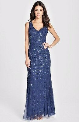 Aidan Mattox Navy Blue Sequin Formal Evening Gown SZ 14