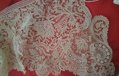 2 yds Antique Brussels Lace 19th Century HANDMADE VALENCIENNE doll point de gaze