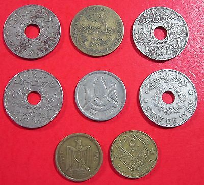 Syria. Vintage Lot Of 8 Assorted Syrian Coins . See Pics.