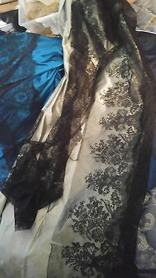 5 YARDS ANTIQUE BLACK SILK CHANTILLY LACE TULLE NET 19th CENTURY FRENCH DOLL NET