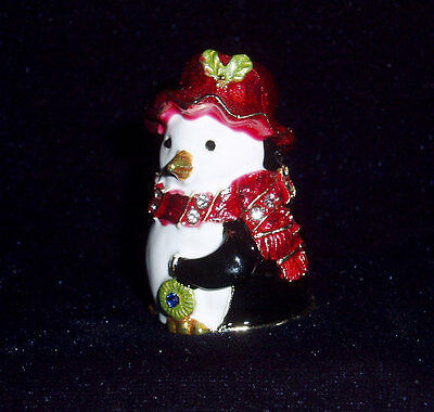 Russian Сollectible Handpainted Decorative Enamel Thimble Penguin in a hat