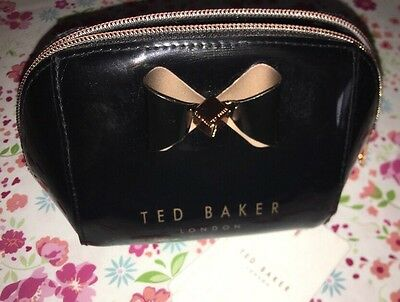 Ted Baker NEW Denty Small Cosmetic Make Up Bag Trapeze Bow Black BNWT