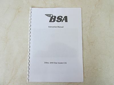 BSA 250 OHV Star C15 Owners Workshop Maintenance Manual