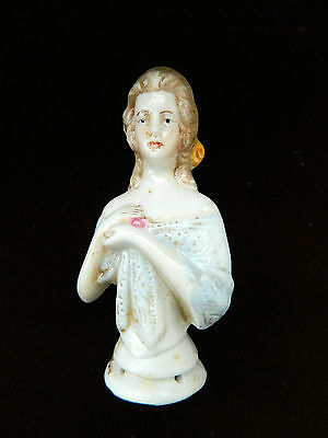 Beautiful Antique porcelain Pincushion Half Doll Germany 3 inches