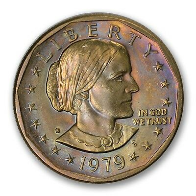 1979-S U.S. $1 Susan B. Anthony Dollar Rainbow Color Toned RAW