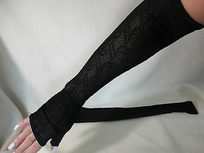 Ladies Vintage Long Black Lace Fingerless Gloves
