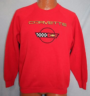 Vintage 80s CORVETTE Embroidered Logo RED Raglan SWEATSHIRT L Chevrolet Car