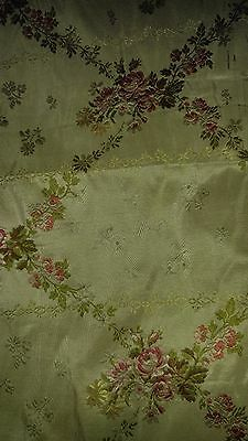 "ANTIQUE 18th Century Lyons Silk BROCADE  Square Fragment 20"" x 16"" FRENCH BEBE"