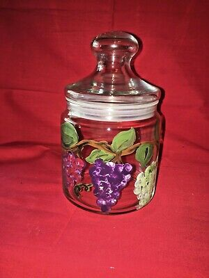 Clear Glass Canister Hand painted Grapes Vines