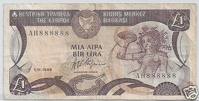 1989 CYPRUS £1 POUND # 888888  SOLID 8's SERIAL CENTRAL BANK OF CYPRUS BANKNOTE