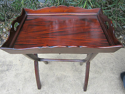 Antique 19Th Century Mahogany Butlers Tray And Stand Campaign Table