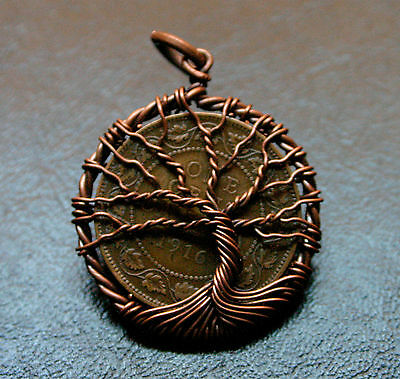 1916 Canada Large Cent Higher Grade, Copper Tree Of Life Pendant