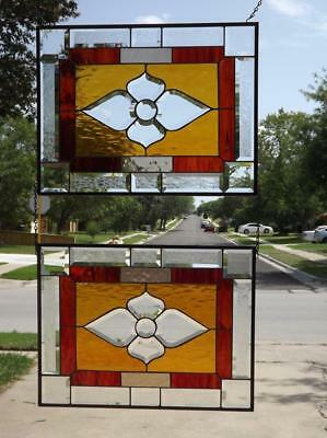 *SWEET AMBER *Beveled Stained Glass Window Panel