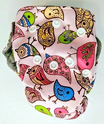 Happy Flute Newborn All-In-One Cloth Diaper - Pink with Colorful Birds